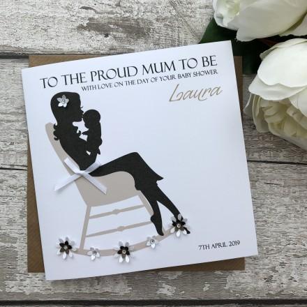 "Handmade Baby Shower Card ""Rocking Chair"""