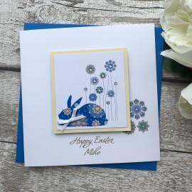 "Handmade Easter Card ""Floral Bunny"""