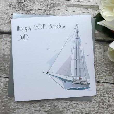 Personalised Handmade Birthday Cards 'Sailing Boat'