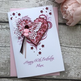 "Luxury Handmade Birthday Card ""Butterfly Rosebud"""