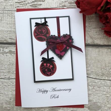 Handmade Wedding Anniversary Card 'Romantic Baubles'
