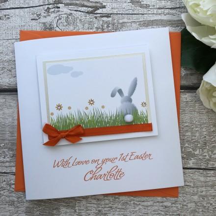 """Handmade Easter Card """"White Rabbit"""""""