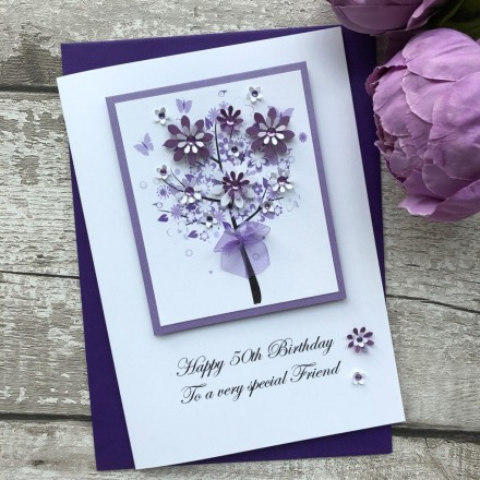 Luxury Handmade Birthday Card 'Floral Tree'