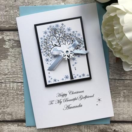 Luxury Handmade Christmas Card 'Snowflake Tree'