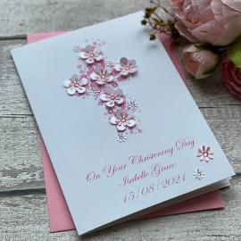 Luxury Handmade Christening Card 'Floral Cross'