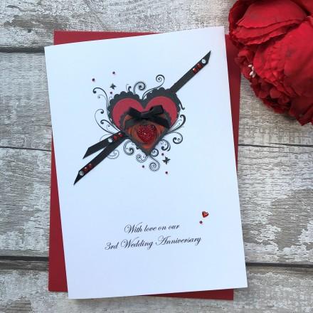 Handmade Wedding Anniversary Card 'Rose Heart'