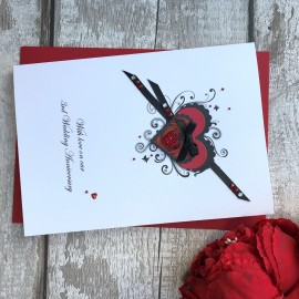 Handmade Wedding Anniversary Card 'Rose Heart'