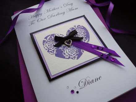 "Luxury Mother's Day Card ""Lilac Heart"""