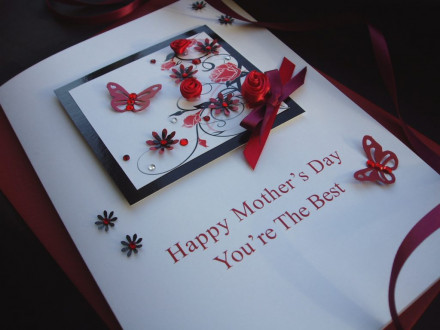 "Luxury Mother's Day Card ""Red Roses"""
