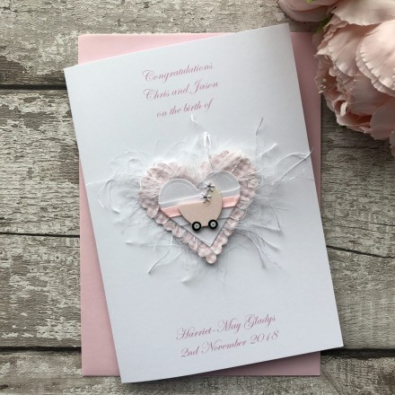 Luxury Handmade New Baby Card 'Pram'