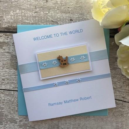 Handmade New Baby Card 'Rocking Horse'