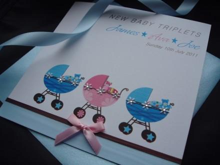 "Handmade New Baby Card ""Pram Twins or Triplets"""