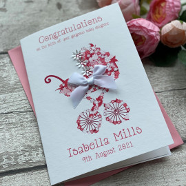 Handmade New Baby Card 'Floral Pram'