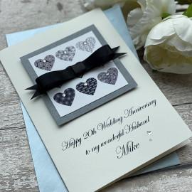 Luxury Wedding Anniversary Card 'Bowed Hearts'