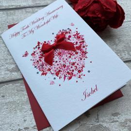Handmade Wedding Anniversary Card 'Floral Heart'