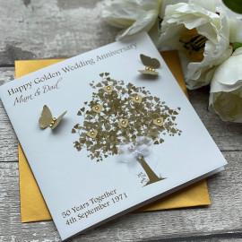 "Handmade Golden Wedding Anniversary Card ""Golden Tree"""