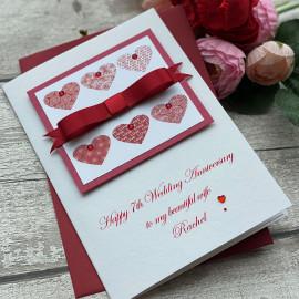 Luxury Hearts Wedding Anniversary Card