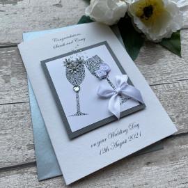 Luxury Handmade Wedding Card 'Champagne'