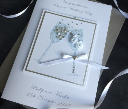 Handmade Wedding Card Champagne