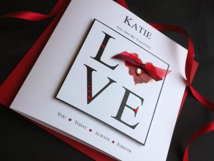 "Handmade Valentines Card ""Love Petal Heart"""