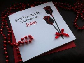 "Handmade Valentines Card ""Double Roses"""
