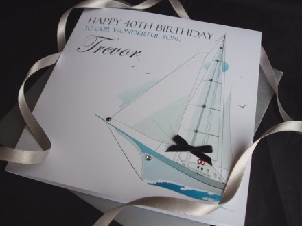 Birthday Elegant Sailing Boat Card