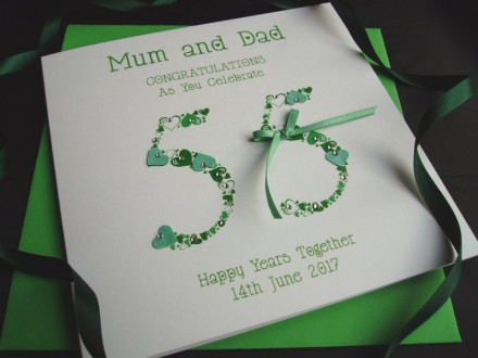 Emerald Heart Numbers Wedding Anniversary Card