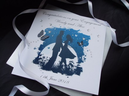 Handmade Engagement Card Blue Moon