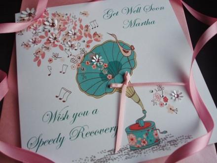 Handmade Get Well Card Gramophone