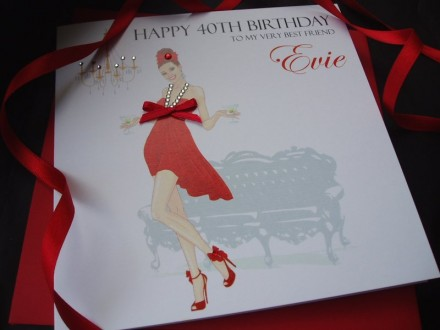 Gorgeous Lady in Red Dress Birthday Card