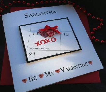 "Handmade Valentines Card ""XOXO Calendar"""
