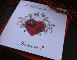 "Handmade Valentines Card ""Ornate Butterfly Heart"""