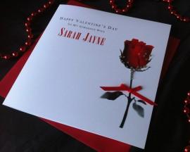 "Handmade Valentines Card ""Dewy Rose"""