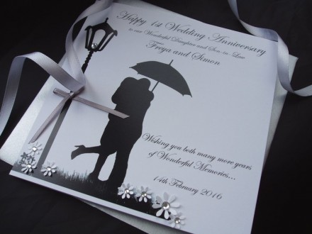 Couple with Umbrella Wedding Anniversary Card