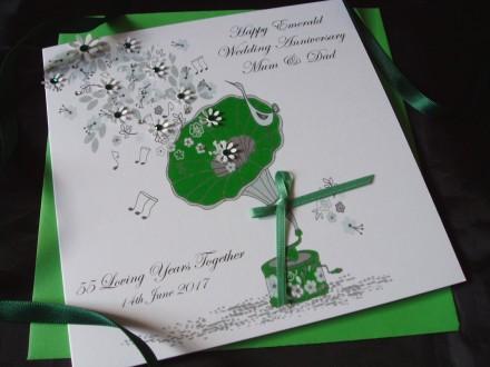 Emerald Gramophone Wedding Anniversary Card
