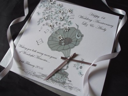 Gramophone Wedding Anniversary Card