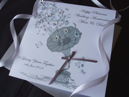 Platinum Gramophone Wedding Anniversary Card