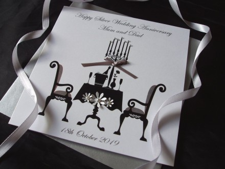 Silver Dining Table Wedding Anniversary Card