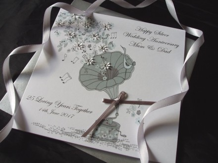 Silver Gramophone Wedding Anniversary Card