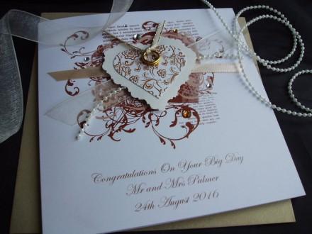 "Handmade Wedding Card ""Vintage Heart"""