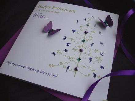 "Handmade Retirement Card ""Butterfly Tree"""