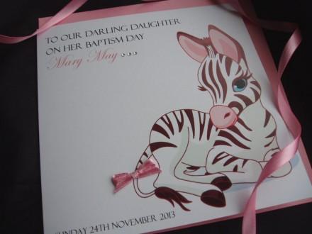 Cute Zebra Christening Card