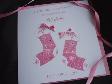 Handade Christmas Card Baby Stockings