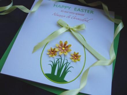 """Handmade Easter Card """"Daffodils Egg"""""""