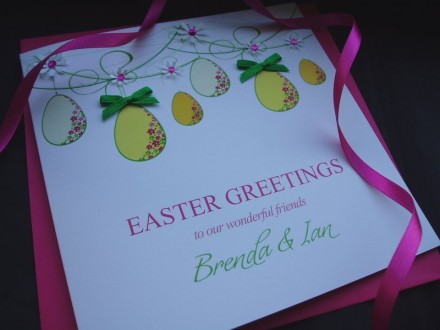 "Handmade Easter Card ""Hanging Eggs"""
