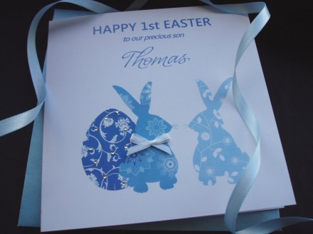 "Handmade Easter Card ""Easter Bunnies"""