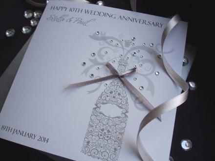 Ornate Wedding Anniversary Champagne Card