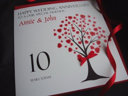 Elegant Anniversary Heart Tree Card