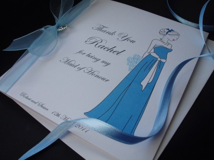 Thank You Long Bridesmaid Dress Card