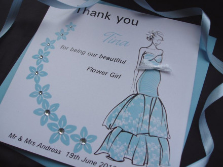 Thank You Bridesmaid Floral Swirl Card